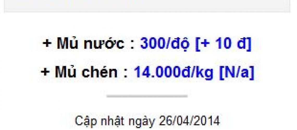 Giá thu mua mủ cao su